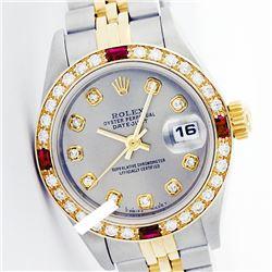 Rolex Men's Two Tone 14K Gold/SS, QuickSet, Diam Dial & Diam/Ruby Bezel - REF-557W5H