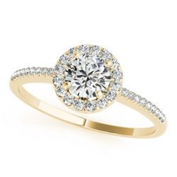 1 CTW Certified VS/SI Diamond Solitaire Halo Ring 18K Yellow Gold - REF-185K3W - 26352