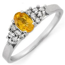 0.74 CTW Yellow Sapphire & Diamond Ring 10K White Gold - REF-22W4F - 10683