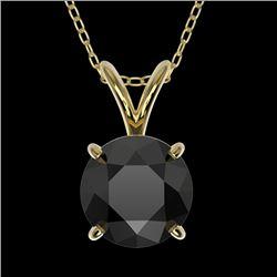 1.25 CTW Fancy Black VS Diamond Solitaire Necklace 10K Yellow Gold - REF-29K5W - 33206