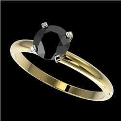 1 CTW Fancy Black VS Diamond Solitaire Engagement Ring 10K Yellow Gold - REF-32A8X - 32889