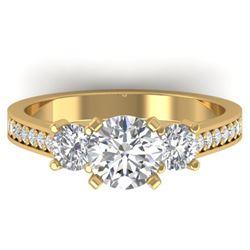 1.75 CTW Certified VS/SI Diamond 3 Stone Ring 14K Yellow Gold - REF-389M8H - 30389
