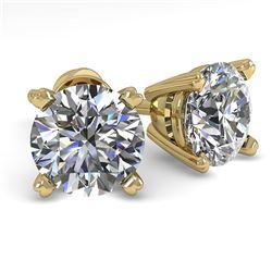 1.53 CTW VS/SI Diamond Stud Designer Earrings 14K Yellow Gold - REF-247T6M - 30593