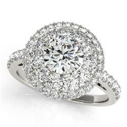 2.09 CTW Certified VS/SI Diamond Solitaire Halo Ring 18K White Gold - REF-444K2W - 26494