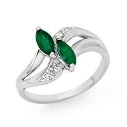0.45 CTW Emerald & Diamond Ring 18K White Gold - REF-31Y3K - 12780