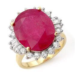 13.12 CTW Ruby & Diamond Ring 14K Yellow Gold - REF-126H9A - 12943