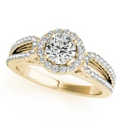 0.9 CTW Certified VS/SI Diamond Solitaire Halo Ring 18K Yellow Gold - REF-134N5Y - 26424