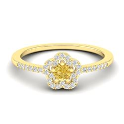 0.40 CTW Citrine & Micro VS/SI Diamond Ring Moon Halo In 10K Yellow Gold - REF-20M8H - 21412
