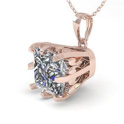 1 CTW VS/SI Princess Diamond Necklace 18K Rose Gold - REF-280F2N - 35717