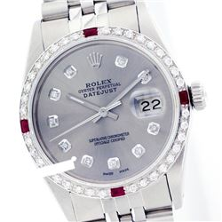 Rolex Ladies Stainless Steel, Diam Dial & Diam/Ruby Bezel, Sapphire Crystal - REF-426H5W