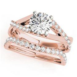 1.06 CTW Certified VS/SI Diamond Solitaire 2Pc Wedding Set 14K Rose Gold - REF-137K3W - 31620