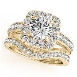 1.55 CTW Certified VS/SI Diamond 2Pc Wedding Set Solitaire Halo 14K Yellow Gold - REF-234X8T - 30980