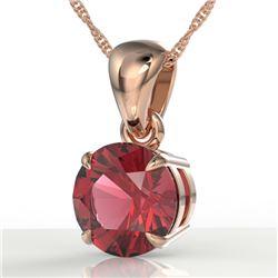 2 CTW Pink Tourmaline Designer Solitaire Necklace 14K Rose Gold - REF-32M8H - 22035