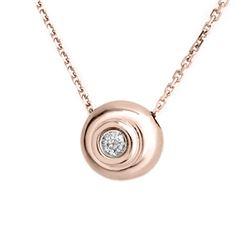 0.10 CTW Certified VS/SI Diamond Necklace 14K Rose Gold - REF-25W8F - 10119