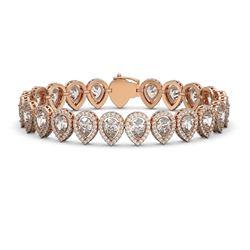 18.55 CTW Pear Diamond Designer Bracelet 18K Rose Gold - REF-3398N9Y - 42825
