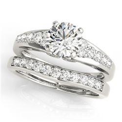 1.5 CTW Certified VS/SI Diamond Solitaire 2Pc Wedding Set 14K White Gold - REF-225W3F - 31718