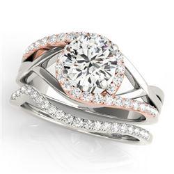 1.75 CTW Certified VS/SI Diamond Bypass Wedding 14K White & Rose Gold - REF-521F3N - 31792