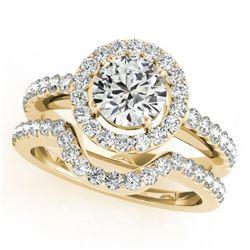 1.21 CTW Certified VS/SI Diamond 2Pc Wedding Set Solitaire Halo 14K Yellow Gold - REF-216K9W - 30779