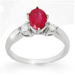 1.45 CTW Ruby & Diamond Ring 18K White Gold - REF-45Y5K - 11780
