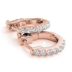 0.25 CTW Diamond VS/SI Certified Hoop Earrings 14K Rose Gold - REF-27T3M - 29207