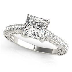 0.8 CTW Certified VS/SI Princess Diamond Solitaire Ring 18K White Gold - REF-134W4F - 27639