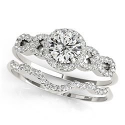 1.43 CTW Certified VS/SI Diamond Solitaire 2Pc Wedding Set 14K White Gold - REF-372A4X - 31994