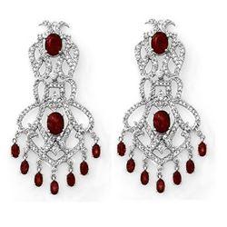 17.50 CTW Ruby & Diamond Earrings 14K White Gold - REF-439N6Y - 11845