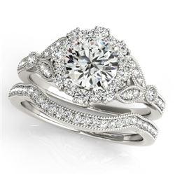 1.19 CTW Certified VS/SI Diamond 2Pc Wedding Set Solitaire Halo 14K White Gold - REF-151M8H - 30960