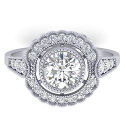 1.55 CTW Certified VS/SI Diamond Solitaire Art Deco Ring 14K White Gold - REF-367K3W - 30537
