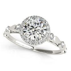 1.25 CTW Certified VS/SI Diamond Solitaire Halo Ring 18K White Gold - REF-369W3F - 26413