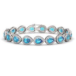 16.59 CTW Swiss Topaz & Diamond Halo Bracelet 10K White Gold - REF-276T8M - 41123