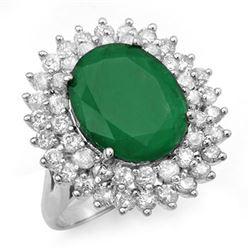 10.83 CTW Emerald & Diamond Ring 18K White Gold - REF-307N3Y - 12962