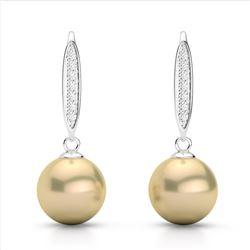 0.18 CTW Micro Pave VS/SI Diamond & Golden Pearl Designer Earrings 18K White Gold - REF-34K5W - 2263