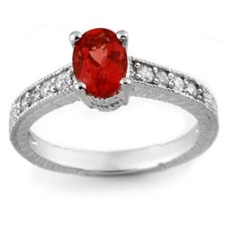 1.50 CTW Pink Tourmaline & Diamond Ring 14K White Gold - REF-39K5W - 10783