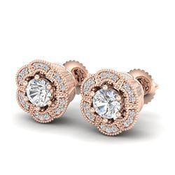 1.51 CTW VS/SI Diamond Solitaire Art Deco Stud Earrings 18K Rose Gold - REF-263T6M - 37107