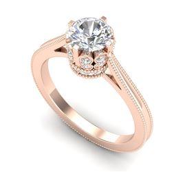 1.14 CTW VS/SI Diamond Solitaire Art Deco Ring 18K Rose Gold - REF-220H5A - 36828