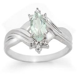 0.62 CTW Aquamarine & Diamond Ring 10K White Gold - REF-14N9Y - 10700
