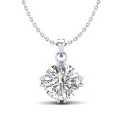 1 CTW VS/SI Diamond Solitaire Art Deco Stud Necklace 18K White Gold - REF-294K2W - 36914