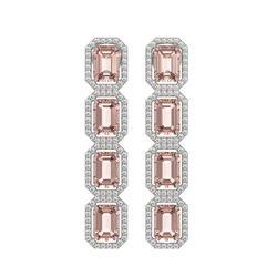 10.73 CTW Morganite & Diamond Halo Earrings 10K White Gold - REF-272M5H - 41438