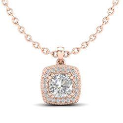 1.25 CTW Cushion VS/SI Diamond Solitaire Art Deco Necklace 18K Rose Gold - REF-315T2M - 37038