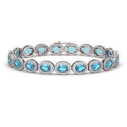 14.82 CTW Swiss Topaz & Diamond Halo Bracelet 10K White Gold - REF-230N4Y - 40484