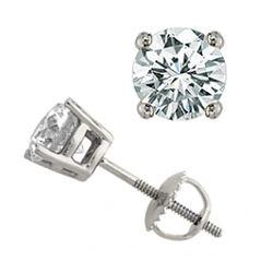 1.25 CTW Certified VS/SI Diamond Solitaire Stud Earrings 18K White Gold - REF-189T6M - 13045