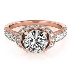 1.75 CTW Certified VS/SI Diamond Solitaire Halo Ring 18K Rose Gold - REF-420W2F - 27025