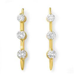1.0 CTW Certified VS/SI Diamond Solitaire Stud Earrings 14K Yellow Gold - REF-116F2N - 12823