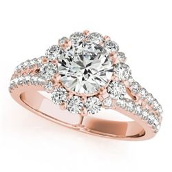 2.01 CTW Certified VS/SI Diamond Solitaire Halo Ring 18K Rose Gold - REF-421T6M - 26701