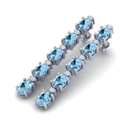 12.47 CTW Aquamarine & VS/SI Certified Diamond Tennis Earrings 10K White Gold - REF-126F5N - 29472
