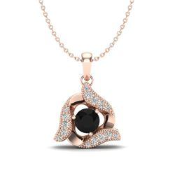 0.46 CTW Black & Micro Pave VS/SI Diamond Halo Necklace 14K Rose Gold - REF-29X8T - 20003