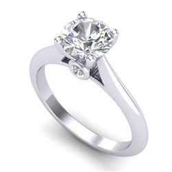 1.36 CTW VS/SI Diamond Solitaire Art Deco Ring 18K White Gold - REF-490T9M - 37289
