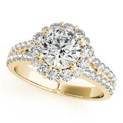 1.76 CTW Certified VS/SI Diamond Solitaire Halo Ring 18K Yellow Gold - REF-247K3W - 26699