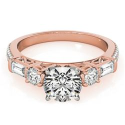 2 CTW Certified VS/SI Diamond Pave Solitaire Ring 18K Rose Gold - REF-452A2X - 28108
